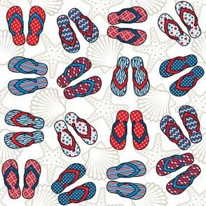 Flip Flops - Patriotic, White