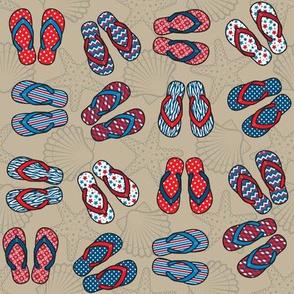 Flip Flops - Patriotic, Taupe