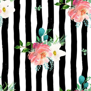 "10.5"" Flamingo Park Black and White Stripes Floral / 90 degrees"