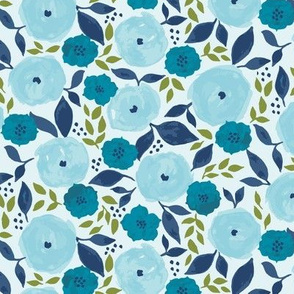 Blue Floral Wash