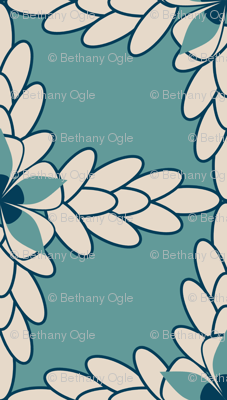 Teal Diamond Print with Khaki Floral and Leaf
