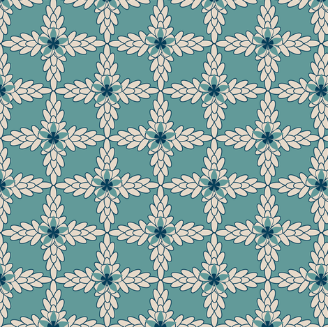 Teal Diamond Print with Khaki Floral and Leaf fabric by amborela on Spoonflower - custom fabric
