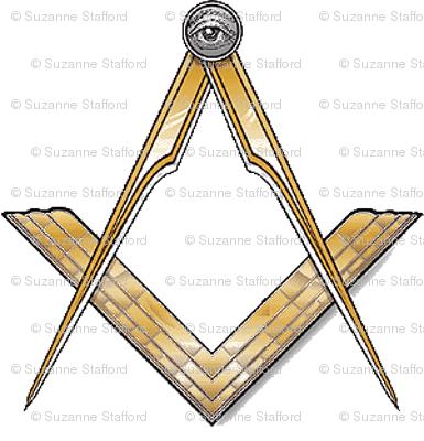 "Med. 1"" (No G) Masonic Square Compass Gold White"