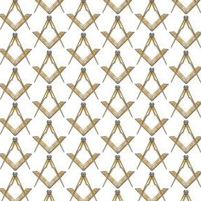 "Med. 1"" (No G) Masonic Square Compass Gold White"