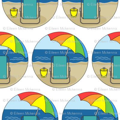 Beach Chair, Rainbow Umbrella