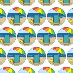 Beach Chair, Rainbow Umbrella