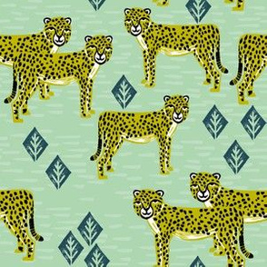 cheetah fabric // linocut african animal big cat design - mint