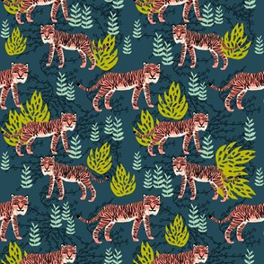 safari tiger fabric // linocut tropical animal fabric illustration design by andrea lauren - navy