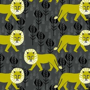 safari  ion fabric // nursery baby linocut design animals fabric - charcoal