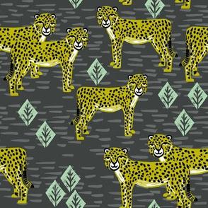 cheetah fabric // linocut african animal big cat design - charcoal