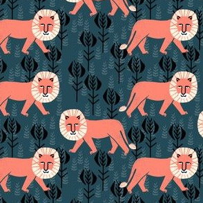 safari  ion fabric // nursery baby linocut design animals fabric - navy