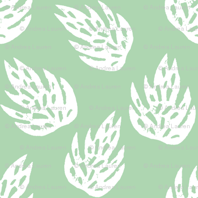 tropical leaves fabric // linocut monstera decor design - mint