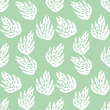 tropical leaves fabric // linocut monstera decor design - mint fabric by andrea_lauren on Spoonflower - custom fabric