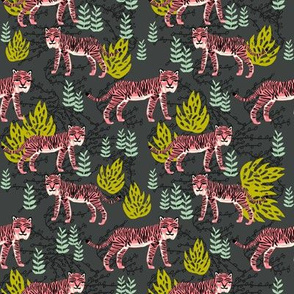 safari tiger fabric // linocut tropical animal fabric illustration design by andrea lauren - charcoal