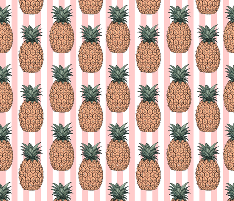 Pineapples & Stripes fabric by paticascino on Spoonflower - custom fabric