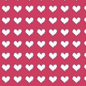White Hearts on Fuchsia Upholstery Fabric
