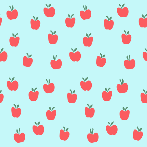 apple picking - blue on red fabric by littlearrowdesign on Spoonflower - custom fabric