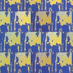 Urban Splatter Blue and Yellow Upholstery Fabric