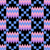 Lavender Purple, Carnation Pink, Cornflower Blue, and Black Kente Cloth