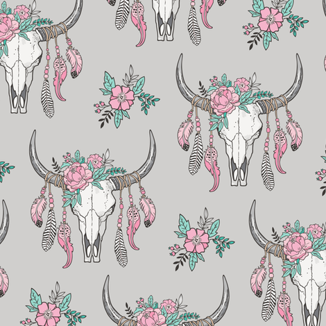 Boho Longhorn Cow Skull with Feathers and Flowers Pink on Grey Smaller fabric by caja_design on Spoonflower - custom fabric