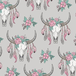 Boho Longhorn Cow Skull with Feathers and Flowers Pink on Grey Smaller