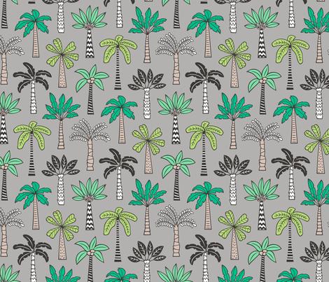 Palm Trees on Grey fabric by caja_design on Spoonflower - custom fabric