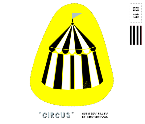 """Cut and Sew """"Circus"""" Pillow (black and white) fabric by sonstnochwas on Spoonflower - custom fabric"""