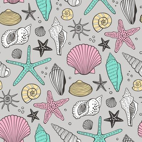 Seashells Nautical Ocean Shells Pink  Mint Green on Grey
