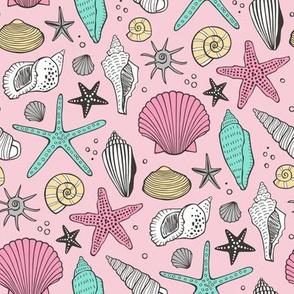 Seashells Nautical Ocean Shells  Mint Green on Pink