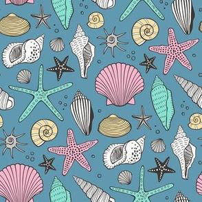 Seashells Nautical Ocean Shells Pink on Blue Navy