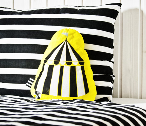 "Cut and Sew ""Circus 02"" Pillow (black and white)"