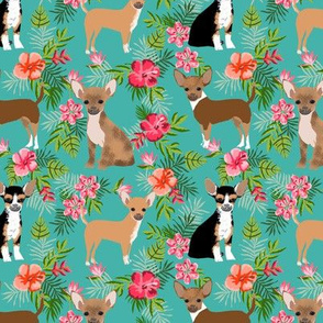 Chihuahua hawaii florals hibiscus dog breed fabric pattern med blue