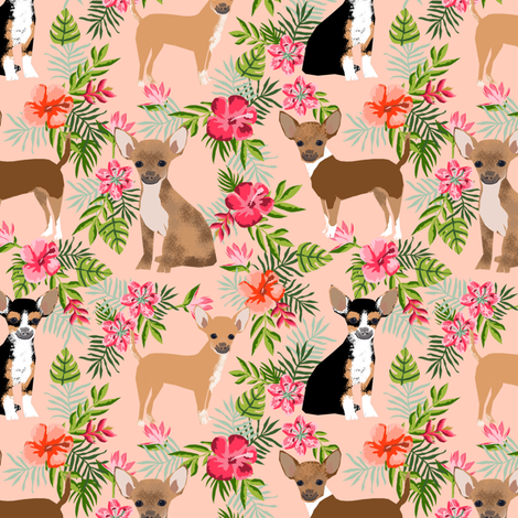 Chihuahua hawaii florals hibiscus dog breed fabric pattern pink fabric by petfriendly on Spoonflower - custom fabric