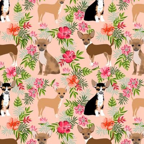 Chihuahua hawaii florals hibiscus dog breed fabric pattern pink