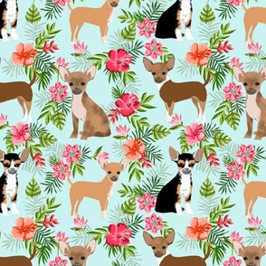 Chihuahua hawaii florals hibiscus dog breed fabric pattern blue