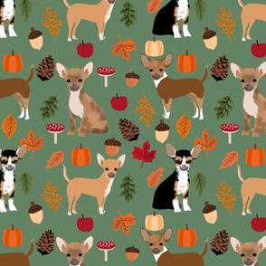 Chihuahua autumn leaves dog breed fabric pattern dark