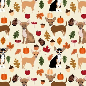 Chihuahua autumn leaves dog breed fabric pattern light