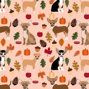 Chihuahua autumn leaves dog breed fabric pattern medium