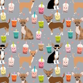 Chihuahua boba bubble tea dog breed fabric pattern grey