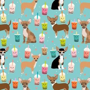 Chihuahua boba bubble tea dog breed fabric pattern light blue