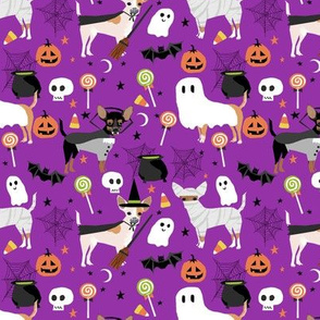 Chihuahua halloween dog breed fabric pattern purple