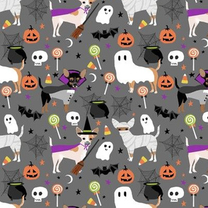 Chihuahua halloween dog breed fabric pattern grey