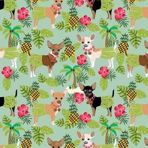 Chihuahua hula skirts tropical dog breed fabric pattern light green