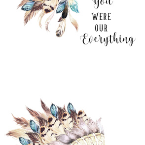"42""x108"" Tan & Aqua Headdress / You Were Our Everything Quote"