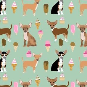 Chihuahua ice cream summer dog breed fabric pattern dark mint