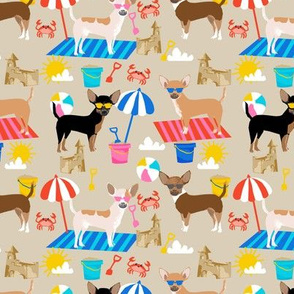 Chihuahua sandcastles beach dog breed fabric pattern tan