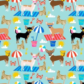 Chihuahua sandcastles beach dog breed fabric pattern light blue