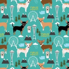 Chihuahua Seattle dog breed fabric pattern turquoise