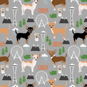 Chihuahua Seattle dog breed fabric pattern grey