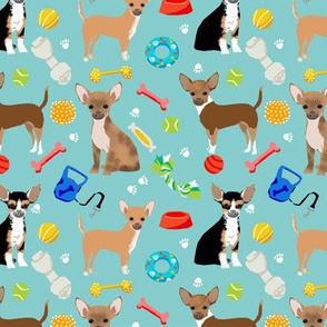 Chihuahua dog toys dog breed fabric pattern blue green